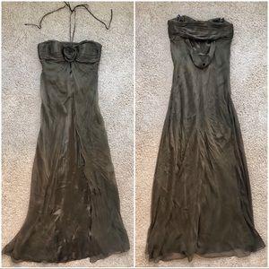 LAUNDRY strapless halter brown dress. Size 2